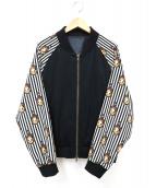 ()の古着「プリント袖ブルゾン」|ブラック