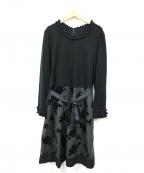 GALLERY VISCONTI(ギャラリービスコンティ)の古着「ローズスカートブラウスワンピース」|ブラック