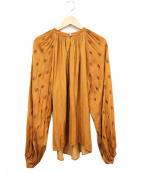 ELIN(エリン)の古着「刺繍袖ブラウス」|ブラウン