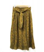 CELFORD(セルフォード)の古着「ボタニカルバードプリントプリーツスカート」|カーキ