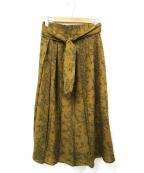 CELFORD()の古着「ボタニカルバードプリントプリーツスカート」|カーキ