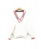 LAONARD(レオナール)の古着「ロゴラベルニット」 ホワイト