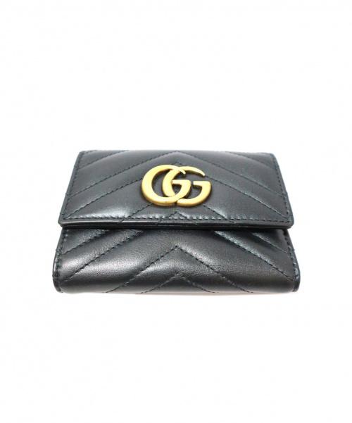 GUCCI(グッチ)GUCCI (グッチ) GGマーモント三つ折り財布 ブラック ダブルG  474802・2149・の古着・服飾アイテム