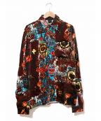 Jean Paul Gaultier homme(ジャンポールゴルチェオム)の古着「[OLD]アートプリントベルベットシャツ」 ブラック