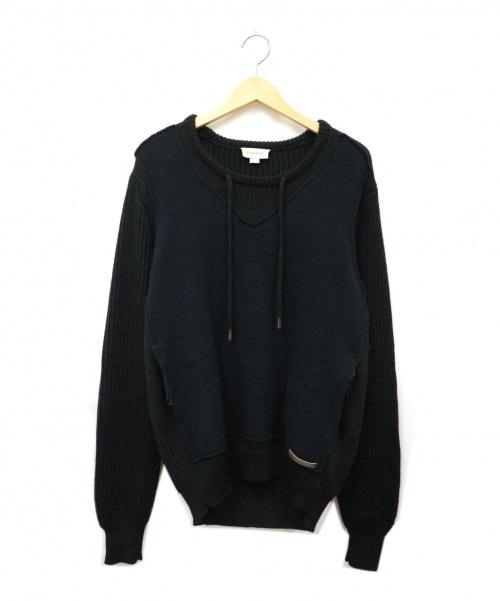 DIESEL(ディーゼル)DIESEL (ディーゼル) レイヤードニット ブラック サイズ:Lの古着・服飾アイテム