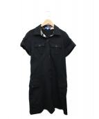 BURBERRY BLUE LABEL(バーバリーブルーレーベル)の古着「半袖シャツワンピース」|ブラック