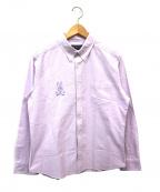 Psycho Bunny(サイコ バニー)の古着「ロゴ繍ボタンダウンシャツ」|パープル