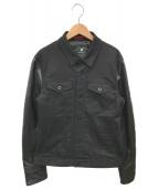 ()の古着「レザー袖トラッカージャケット」|ブラック