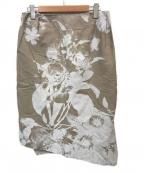 V.W. RED LABEL(ヴィヴィアンウエストウッドレッドレーベル)の古着「プリントスカート」|カーキ
