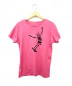lucien pellat-finet(ルシアン・ペラフィネ)の古着「スケータースカルプリントTシャツ」|ショッキングピンク