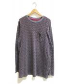 ()の古着「ジャガード総柄ロングスリーブTシャツ」|パープル