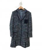 DUAL VIEW(デュアル ヴュー)の古着「ツイードコート」 ブルー