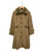 BURBERRY LONDON(バーバリーロンドン)の古着「レッキスファーウールコート」|ベージュ