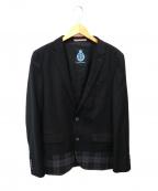 GUILD PRIME(ギルドプライム)の古着「チェック切替テーラードジャケット」 ブラック