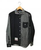Psycho Bunny(サイコ バニー)の古着「切替ネルシャツ」|ブラック