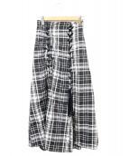 Snidel(スナイデル)の古着「チェックレースアップスカート」|ブラック