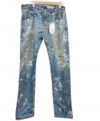 AG(エージー)の古着「ペイント加工デニムパンツ」 ブルー