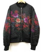()の古着「フラワープリントリバーシブルボンバージャケット」 ブラック