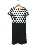 courreges(クレージュ)の古着「フラワー刺繍ワンピース」|ブラック
