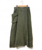 Ys(ワイズ)の古着「[OLD]後染めカーゴポケットスカート」|グリーン