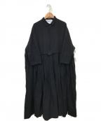 Veritecoeur(ヴェリテクール)の古着「ギャザーシャツワンピース」|ブラック