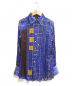 Jean Paul Gaultier FEMME(ジャンポールゴルチェ フェム)の古着「[OLD]アートプリントレーヨンシャツ」|ブルー