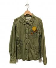 REMI RELIEF (レミレリーフ) ミリタリーシャツ オリーブ サイズ:S 日本製