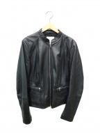 MANGO(マンゴ)の古着「袖スリットラムレザージャケット」 ブラック