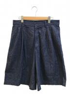 COMME des GARCONS SHIRT BOY(コムデギャルソンシャツ ボーイ)の古着「タックシルエットワイドデニムショーツ」 ブルー