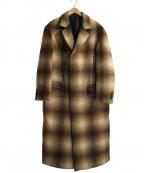 ZARA(ザラ)の古着「オンブレーチェックチェスターコート」|ブラウン