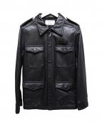 androgynous(アンドロジナス)の古着「レザーシャツジャケット」|ブラック