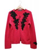KEITA MARUYAMA(ケイタマルヤマ)の古着「ベロアフラワー装飾カシミャカーディガン」|ショッキングピンク