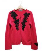 KEITA MARUYAMA(ケイタマルヤマ)の古着「ベロアフラワー装飾カシミャカーディガン」 ショッキングピンク