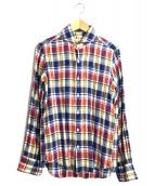 RING JACKET(リングジャケット)の古着「リネンチェックシャツ」|ネイビー