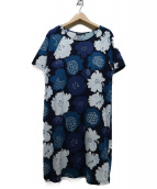 marimekko(マリメッコ)の古着「牡丹柄カットソーワンピース」|ブルー