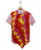 COMME des GARCONS SHIRT(コムデギャルソンシャツ)の古着「サイケデリックパッチワーク&ギンガムチェック半袖シャツ」