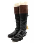 SARTORE(サルトル)の古着「切替レザーロングブーツ」 ブラック