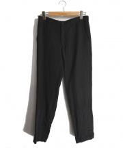 COMME des GARCONS HOMME(コムデギャルソンオム)の古着「裾パッチワーク切替製品染めパンツ」 ブラック