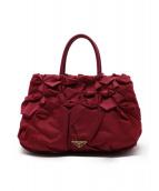 PRADA(プラダ)の古着「フリルナイロントートバッグ」|ピンク