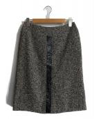 MaxMara(マックスマラ)の古着「レザー切替スカート」 ブラック