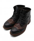 WOLVERINE(ウルヴァリン)の古着「ツートンウィングチップブーツ」|ブラック×ブラウン