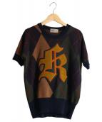 KOLOR(カラー)の古着「ロゴワッペン半袖ニット」|ネイビー