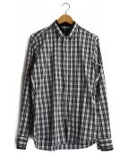GIVENCHY(ジバンシィ)の古着「比翼チェックシャツ」|ホワイト×ブラック