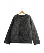 LAVENHAM(ラベンハム)の古着「ノーカラーキルティングジャケット」|チャコールグレー