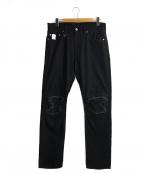 whiz limited(ウィズリミテッド)の古着「クラッシュ加工デニムパンツ」 ブラック