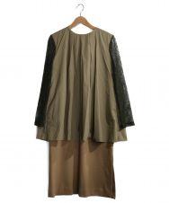 YOSHIYO (ヨシヨ) Lace Sleeve Layered Onepiece ベージュ サイズ:4