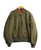 G.V.G.V(ジーヴイジーヴイ)の古着「LACE UP MA-1 BLOUSON」|オリーブ