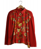 HERMES(エルメス)の古着「シルク切替ニットポロ」|レッド