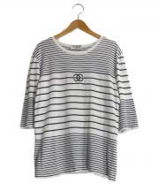 CHANEL(シャネル)の古着「ココマーク刺繍ボーダー半袖ニット」|ホワイト