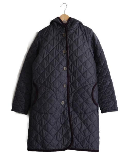 LAVENHAM(ラヴェンハム)LAVENHAM (ラヴェンハム) フーデットキルティングコート ネイビー サイズ:38の古着・服飾アイテム